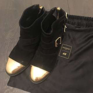 Balmain x H&M suede ankle boots