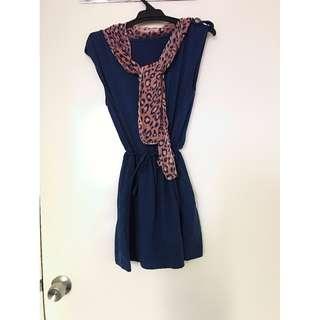 Navi Sleeveless Slim Waist Dress with Leopard Print Sheer Scarf