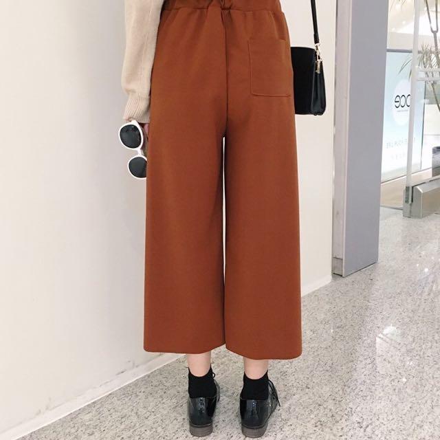 韓系百搭高腰顯瘦寬褲