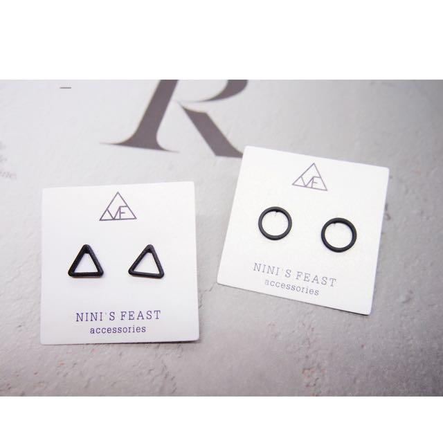 黑色個性幾何圖形耳環