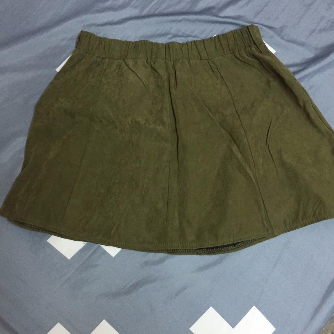 墨綠色麂皮 圓裙 短裙 彈性腰圍  M可穿 修身好看 百搭日常