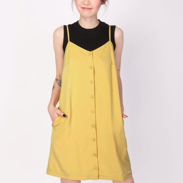bf63c5d4a A for Arcade - Emma Button Slip Dress in Buttercup