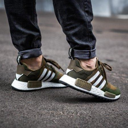 new style fcdbe 8b485 Adidas NMD R1 Trail X White Mountaineering Primeknit (Olive), Men s  Fashion, Footwear on Carousell
