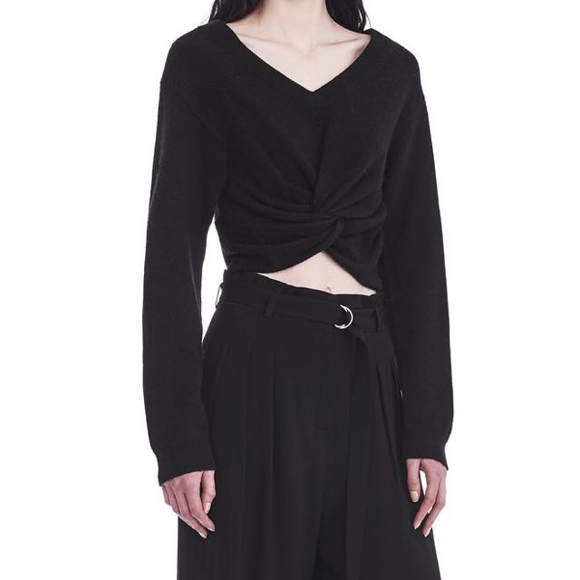 Alexander Wang Tie Front Cropped Wool Knit Sweater