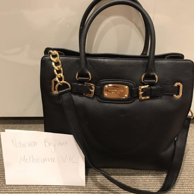 Authentic Michael Kors Black Leather Handbag