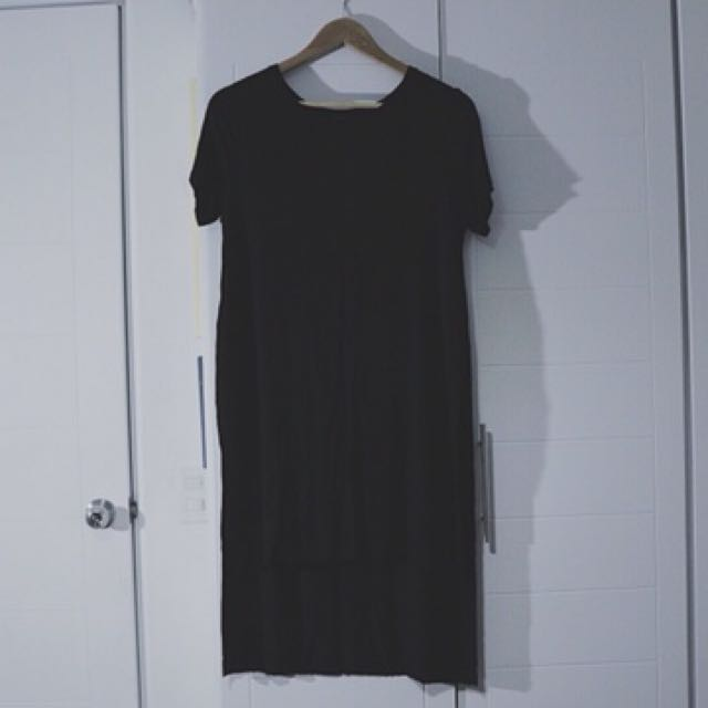 Bershka Black Shirt Dress with Slit