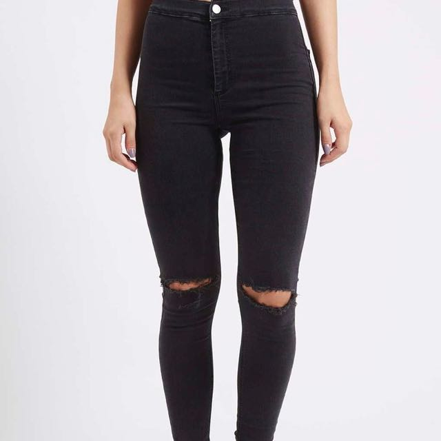 Black high waist ripped jeans