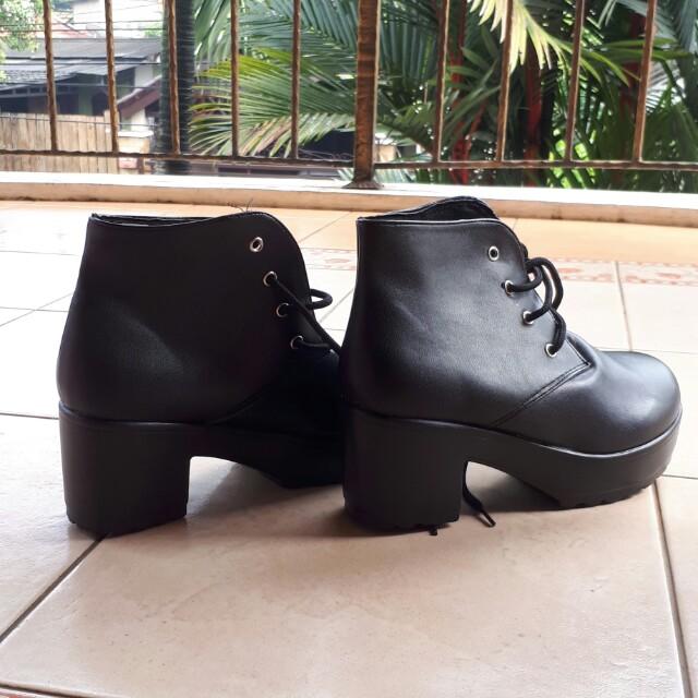 Black Hitam Boots Korea