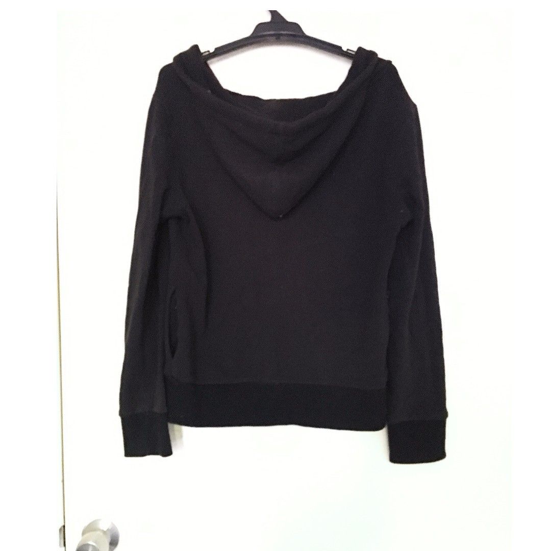 Black Polycotton Jacket with Hood and Pockets
