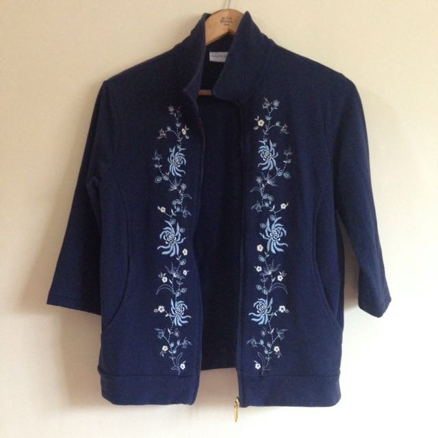 Blue Embroidered Blazer