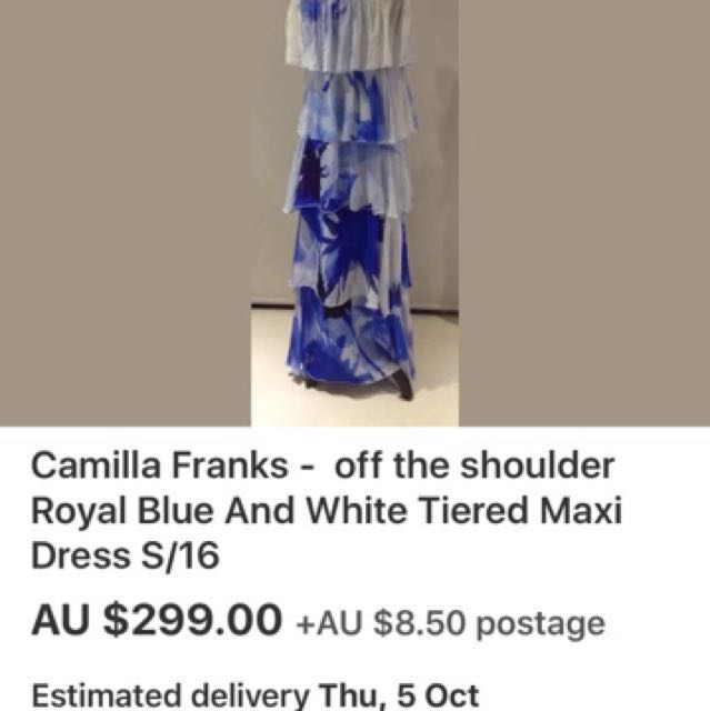 Camilla blue and white silk tiered dress size 16