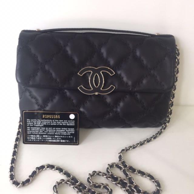 Chanel veau brode flap leather bag