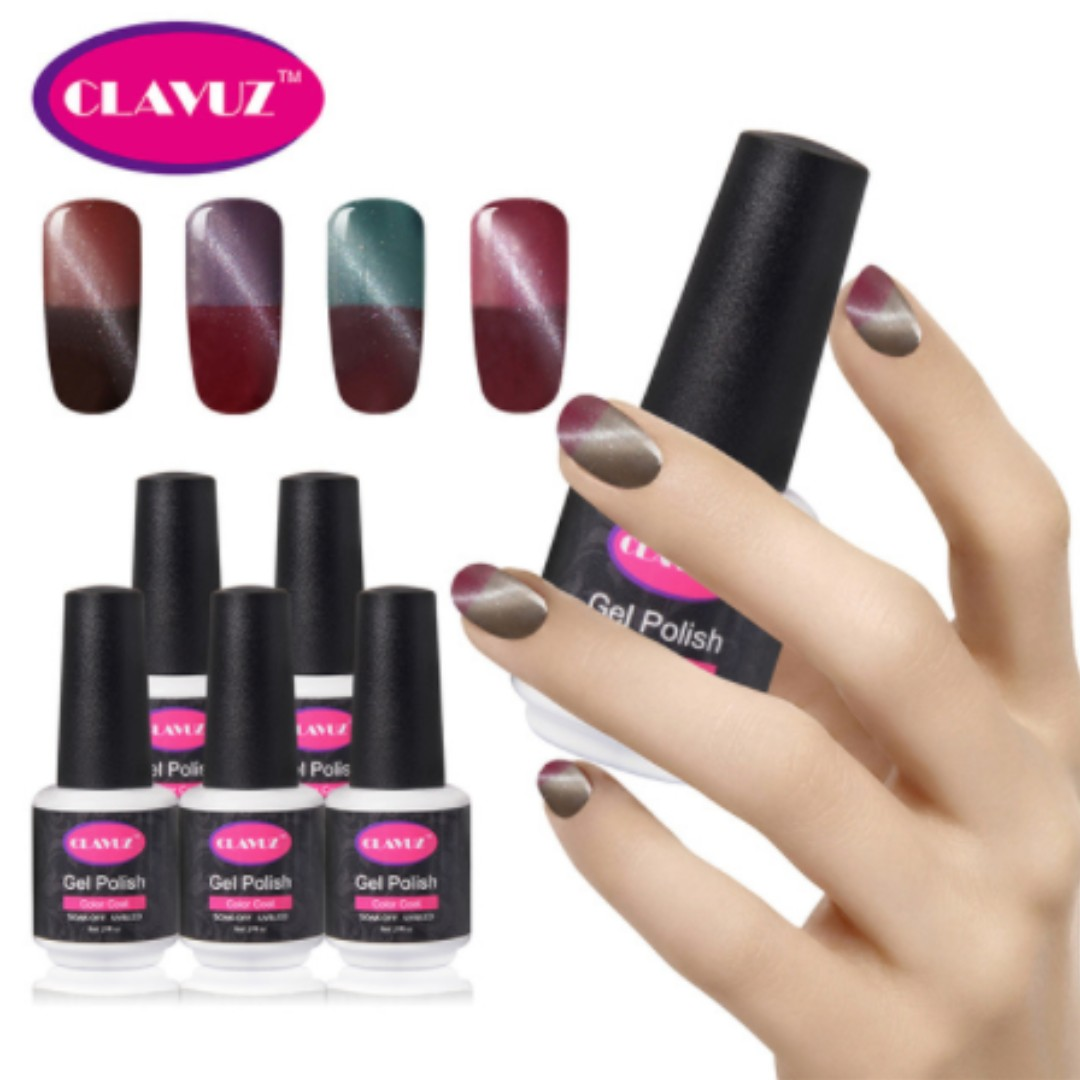 CLAVUZ 8ml Thermal Color Change Cat Eye Gel Polish Nail polish ...
