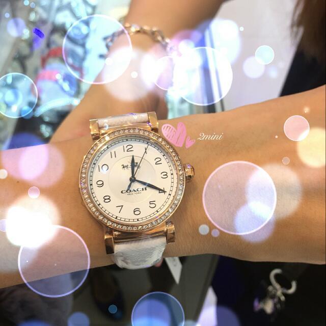 COACH銀色水鑽數字皮帶女錶