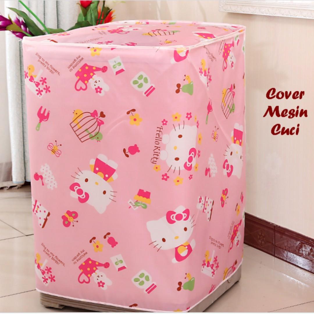 Cover Mesin Cuci Hello Kitty Bahan Satin Buka Atas Daftar Harga Spons Pembersih Sisa Make Upbdi Wajah Motif Lembut Sarung Pink Anti Air Panas