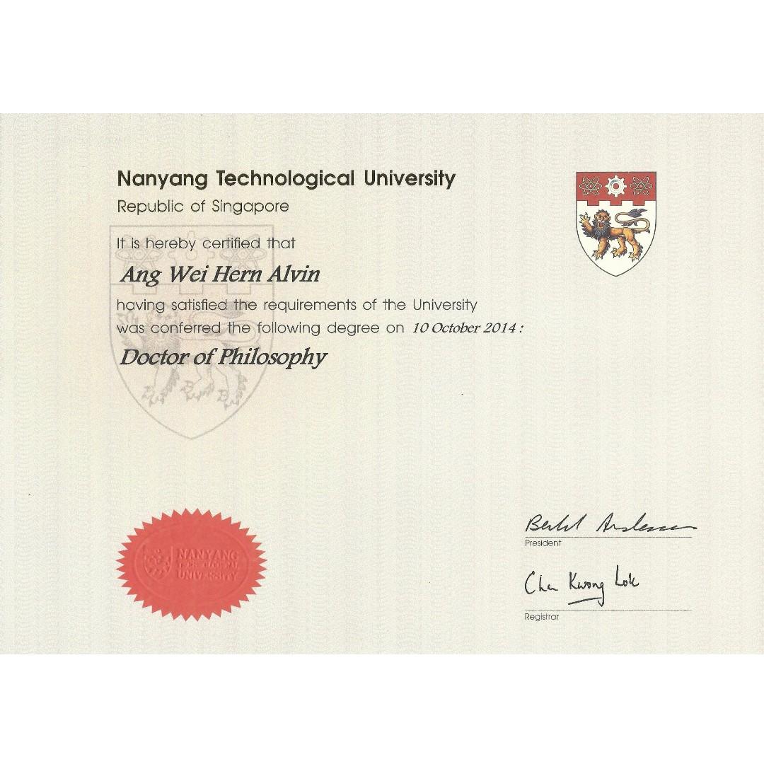 Dr. Alvin's Degree Certificates