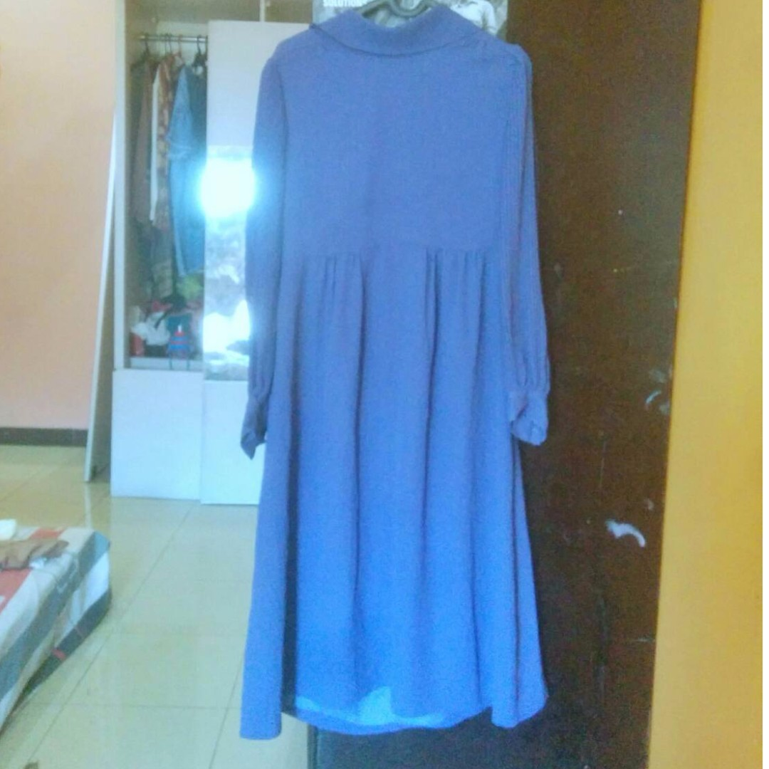 Dress Vintage Pleats Ungu