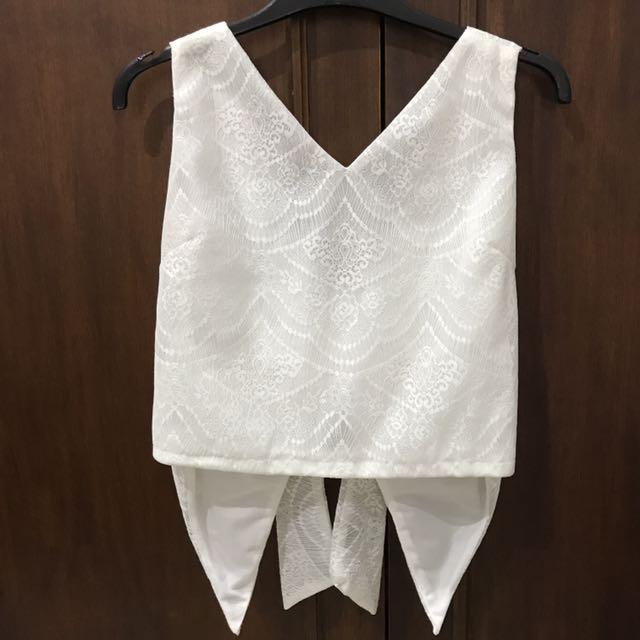Duapola Back Bow Lace Crop Top