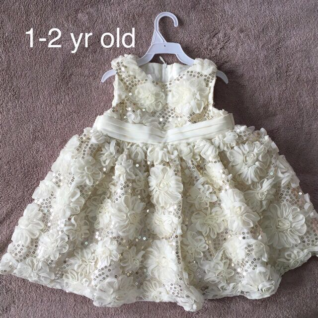 Embroidery laced christening baby kids dress