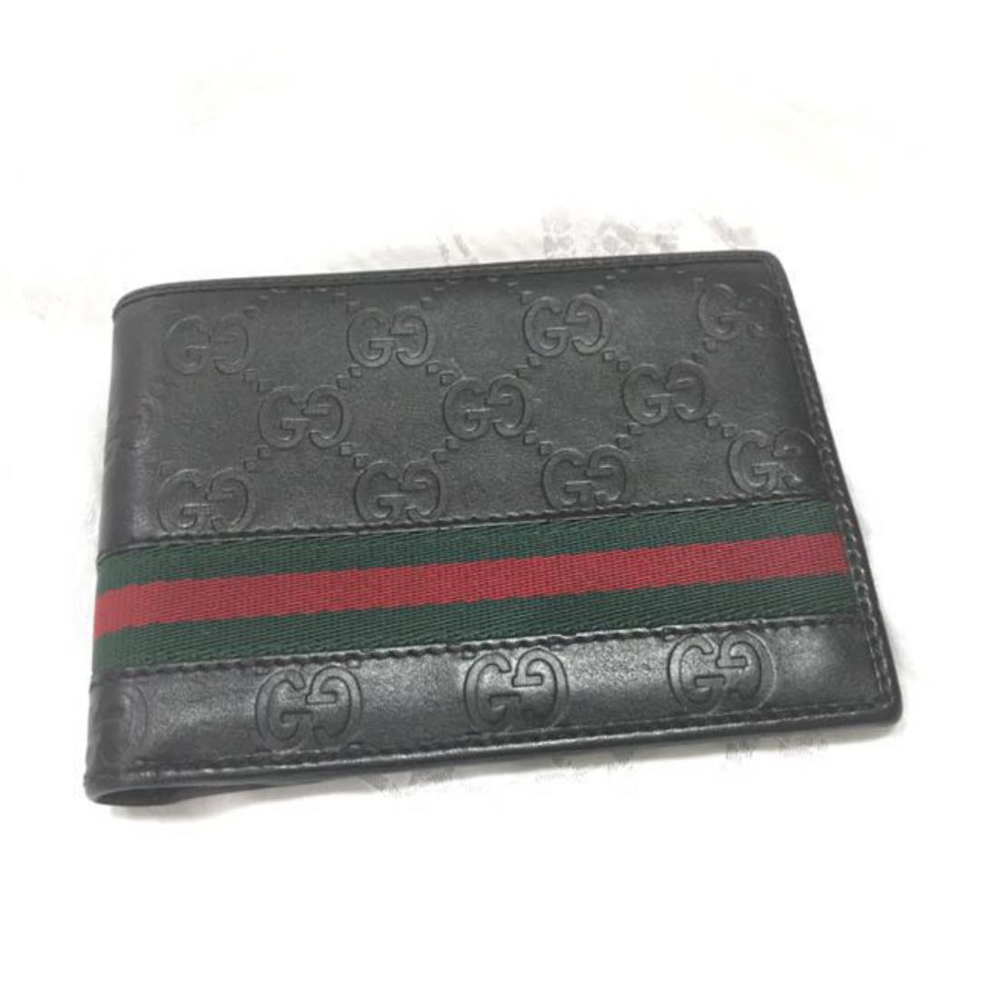 0f3ccf6b842c GUCCI like new! GG signature web wallet black leather green red web ...
