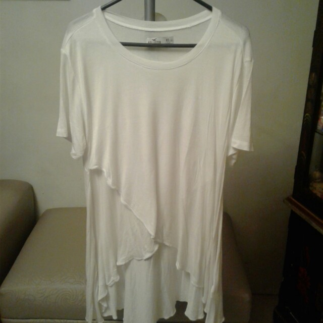 Hollister white long back shirt