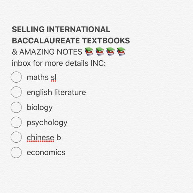 IB TEXTBOOKS AND NOTES