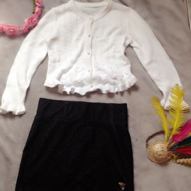 knitted white long sleeves 3-5t