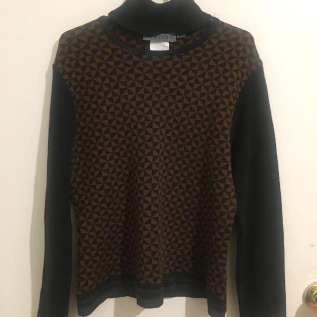 Luxe NZ Merino Wool black high neck cutout knit