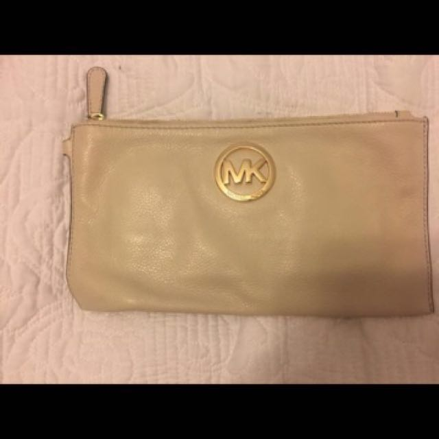 Michael Kors Cream and Gold Wristlet Bag