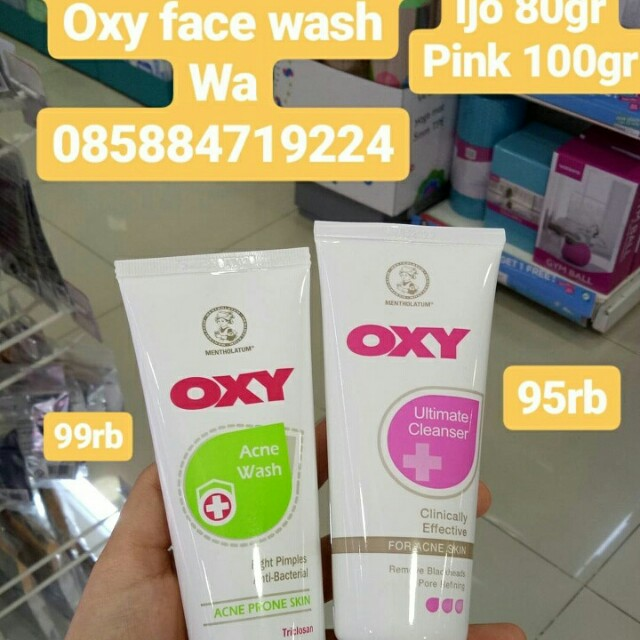 Oxy face wash hijau pink acne skin