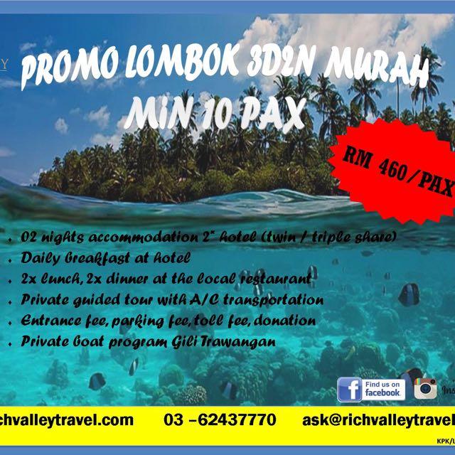 Pakej Promo Lombok 3D2N Murah