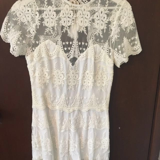 #playsuitsale Arnhem Clothing Arabella Lace Short Playsuit White