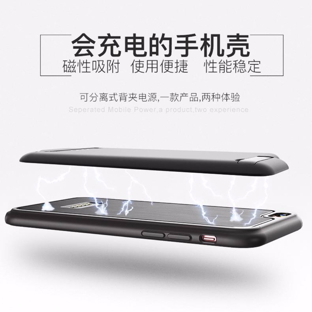 Power Case External Battery Back Case Kick Stand for iPhone 7/7 Plus