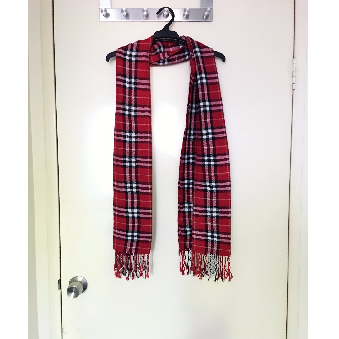 Red Check Scarf with Tassels