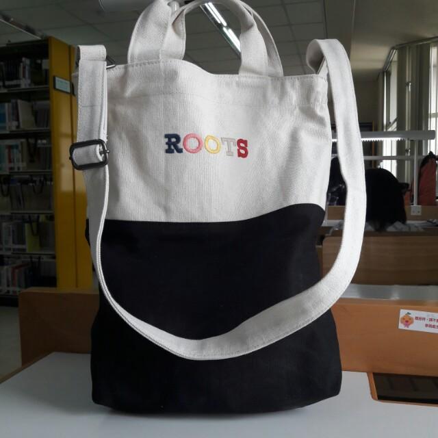 降價😈正品Roots帆布兩用包/布質包 可側背可手提
