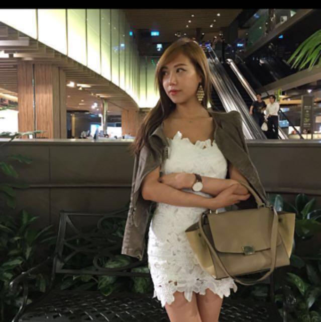 純白蕾絲平口洋裝scrappykoko