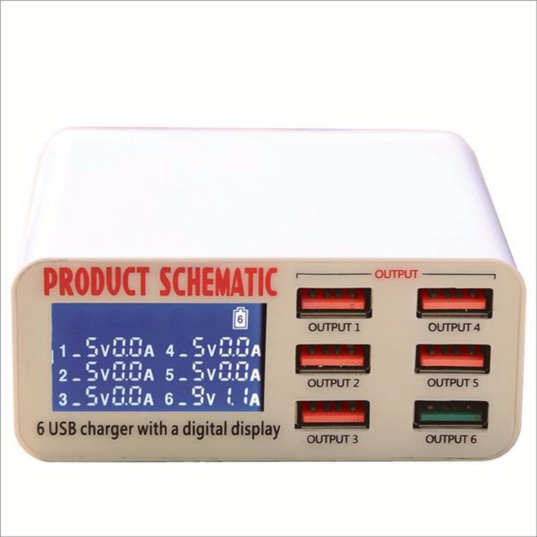 Smart 6 Port USB Fast Charger LCD Display with Auto Detect Technology