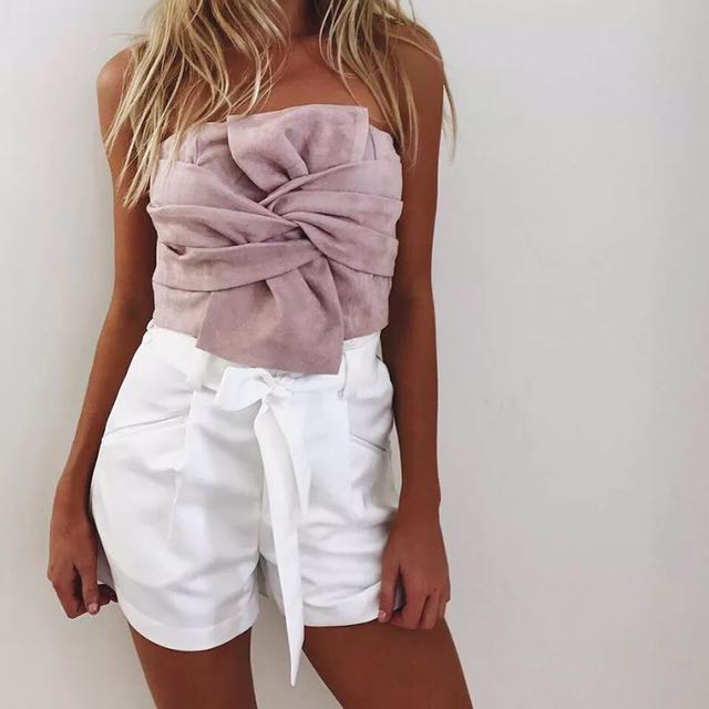 Tie knot pink tube top