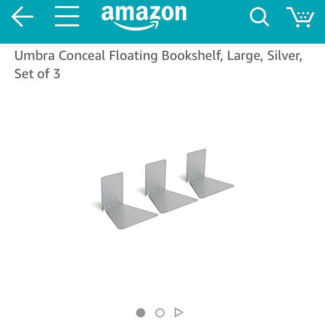 Umbra Conceal Large Set Of 3 Silver Floating Shelves Furniture