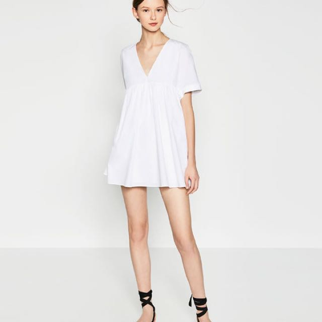 9453f4ad144 Zara White Poplin Playsuit