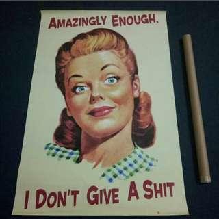 美式復古女郎標語海報