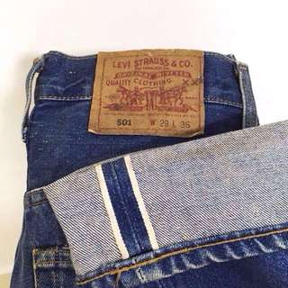 Vtg. 501 Made in USA Selvedge Button Fly Number 555  Size W29 L36