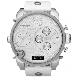 Diesel Mrdaddy Silver Men's Dz7194 Leather Watch brand new