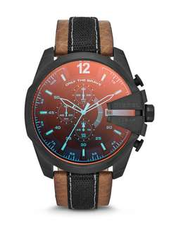 Diesel Mega Chief Dz4305 Red Mens' Leather Chronograph Watch