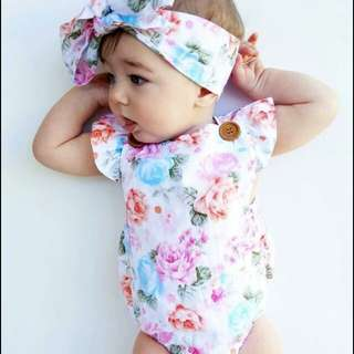 Baby romper with headband set