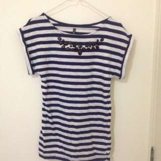 White and Blue Striped Top with Black Beads | SMALL