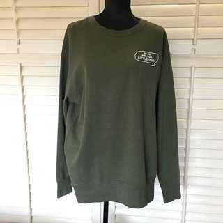 Uniqlo XL green khaki men top shirt jumper pullover 100% cotton long sleeve warm