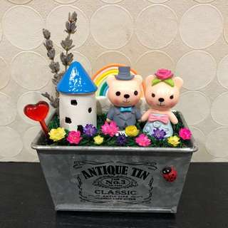 🌈SALE!! Adorable Wedding Bear Couple Round Castle Rainbow Frozen Flowers Real Lavender Cute Terrarium Deco Antique Tin Pot