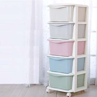 5-Tier Macaron/Sweet Color Drawer Cabinet