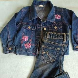 Bundle denim jeans and jacket